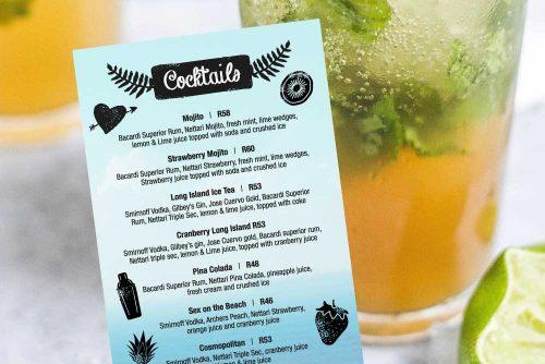 Red Herring cocktail menu