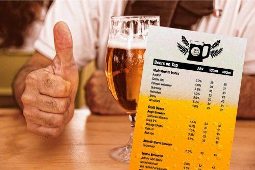 The Red Herring beer menu