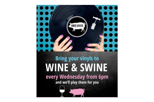 Wine & Swine bring your vinyl facebook ad